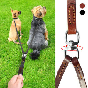 Leather Dog Lead Splitter No Tangle Double Dog Two Leash Walking Training 2 Dogs