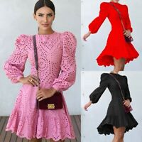 Women Sexy Slim Hollow Out Dress Lady Bodycon Long Sleeve Lace Ball Gown Dresses
