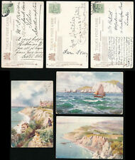 ISLE of WIGHT TUCKS OILETTE 7572 FRESHWATER ARTIST WIMBUSH POSTALLY USED 3 DIFF
