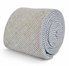 Frederick Thomas Da Uomo Cotone Lino skinny tie in grigio chiaro-ft3153