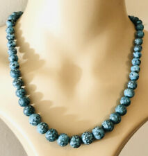 Art Deco Turquoise Bead Necklace Silver Clasp