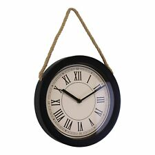 Wall Clock Round Roman Numerals Rustic Vintage Style Hanging Decor Black Small