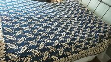 "Antique Early Coverlet Indigo Blue & White Jacquard 86""x70"""