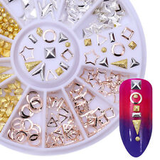 Gold Silver Rivets Studs 3D Nail Decoration in Wheel Star Circle Square Triangle