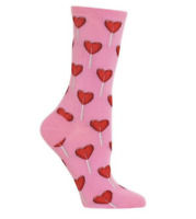 Valentine's Day Lollipop Crew Socks Shoe Size 4-10.5 Lolly Candy Hearts RARE