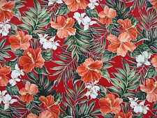 New Hawaiian Hibiscus Tropical Flowers Floral Print Red Fabric BTY