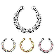 Clip On Fake Septum Ring Non Piercing Nose Ring Hoop Crystal Body Jewelry Funny