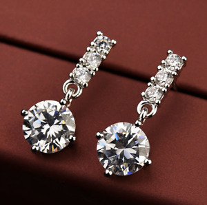 18k white gold filled made with SWAROVSKI crystal stud earrings dangle lady gift
