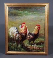 Oil Painting on Canvas with Frame, Roosters, Signed