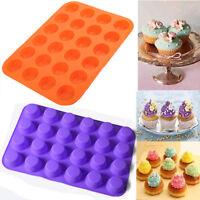 24Cup Baking Tray Pan Silicone Mini Muffin Bun Cupcake Bakeware Mould Tool
