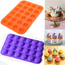 24Cup Silicone Mini Muffin Bun Cupcake Baking Bakeware Mould Tray Pan Kitchen