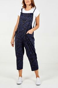 New Ladies women Leopard Print Jersey Dungaree Jumpsuits One Size (8-14)