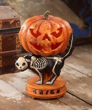 Haunted Pumpkin on Black Skeleton Cat Large Halloween - by Bethany Lowe TD6028