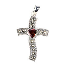 Cross Marcasite Pendant with Garnet CZ Heart Sterling Silver Christian Jewelry