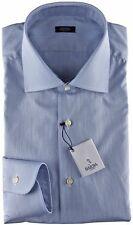 NWT BARBA NAPOLI DRESS SHIRT black label white blue striped handmade 44 17 1/2