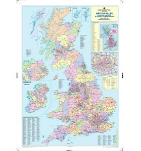 UK Wall Map –Laminated Large Map - Counties, District, Postcode Areas and Roads