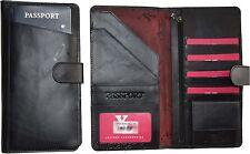 Leather document case organizer passport ID airline tickets Credit card Pockets