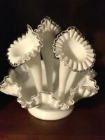 Vintage Scarce Fenton Silver Crest 4 Pc Epergne 3 Horn Large Milk Glass