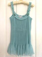 Victoria Secret Nightie Lingerie Babydoll Teddy Sz M Blue Sheer Micro Pleats EUC