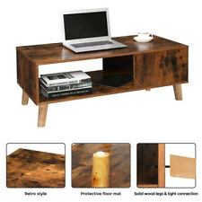 Modern  Coffee Table Side End Wood Table With Storage Shelf for Living Room