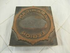 American Legion Embossing Stamp Copper Plate on Wood Vintage