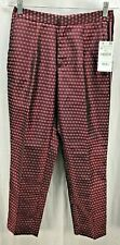 Zara Basic Pants Pleat Women Flower Size Small Maroon Side Stripe Women New 5582