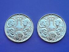 Lot of two Greek coins of 30 drachmas 1963 (5 Kings),SILVER 83.5%, XF to AU.