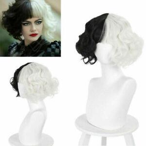 Funky Cruella Wigs Ladies Fancy Wigs Black White Female Cosplay Fake Hair Wigs