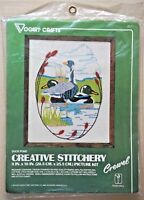 Duck Pond crewel embroidery kit Creative Stitchery Vogart cattail vtg new sealed