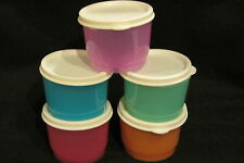 NEW Tupperware Rainbow SNACK CUPS SET of Five 4 oz  RARE *FREE SHIP*