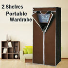 2 Shelves Brand New Easy to assemble Portable Wardrobe Large Space Storage Brown