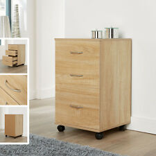 Oak Home Office Mobile 3 Drawers Pedestal Cabinet Silver Handles Furniture Unit