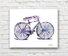 Vintage Bicycle 2 Abstract Watercolor Bike 11 x 14 Art Print by Artist DJR
