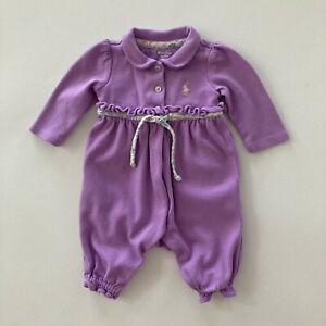 Ralph Lauren Baby Girl 3 Months Polo Romper Lavander Cotton Snap Jumpsuit Snap