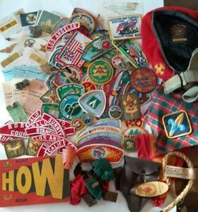 Large Lot Of BSA Boy Scouts Badges,50+ Patches, Hat Scarves Ect, Early 1970's