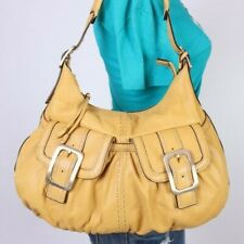 COLE HAAN Large Yellow  Leather Shoulder Hobo Tote Satchel Purse Bag