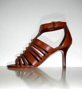 $195 New Ivanka Trump Pettea Brown Leather Elegant Strappy Shoes sz 10
