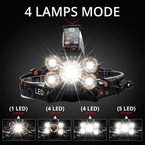 lampe frontale puissant LED Rechargeable Réglable Camping Randonnée Bricolage