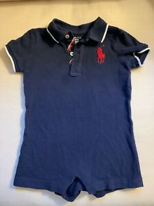 BOYS RALPH LAUREN SHORTALL ROMPER NAVY RED BIG PONY 9 MONTHS KNIT