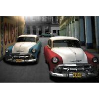 "CUBA - OLD AMERICAN CARS - ARTWORK 91 x 61 cm 36"" x 24"" POSTER"
