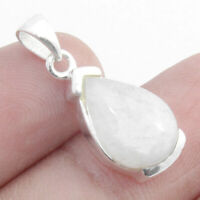 Natural Rainbow Moonstone 925 Sterling Silver Pendant Jewelry S 0.9""