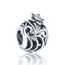 Mystic Flower Charm - Silver European Bead - Pink Cubic Zirconia