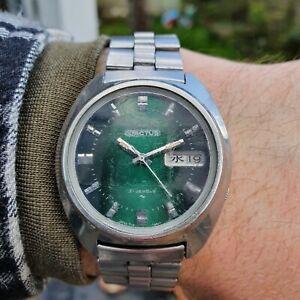Seiko 7019-7350 5Actus 'AdVan' Green dial - Stainless Steel day date