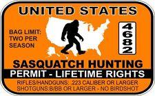 "Sasquatch Hunting Permit Warning Decal Sticker Funny 3"" x 5"" United States"