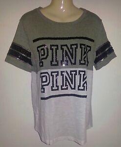 Victoria Secret PINK L  Black & White Colorblock Bling Sequins Tee T Shirt Large