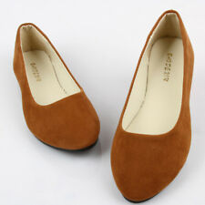 Womens Flat Pumps Ladies Suede Ballet Ballerina Dolly Bridal Shoes Size 2-10 UK