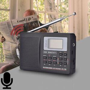 Digital World Full Band Radio Receiver AM/FM/SW/MW+Alarm Clock Earphone Portable