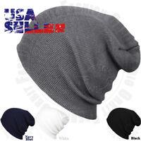 Cuffed Beanie Plain Knit Hat Winter Solid Cap Slouchy Skull Ski Warm Men Woman