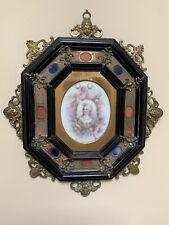 Antique Porcelain Miniature Portrait Painting Lady Cherubs Bronze Frame Plaque