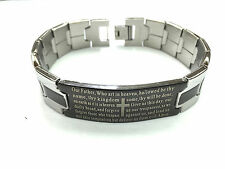 """Stainless Steel Our Father English Player  Men's Bracelet """"Brand NEW"""""""